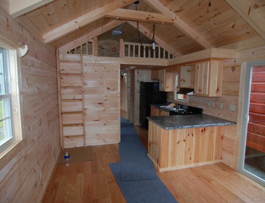 34' x 12' Modular Log Cabin with Front Living Room (ID
