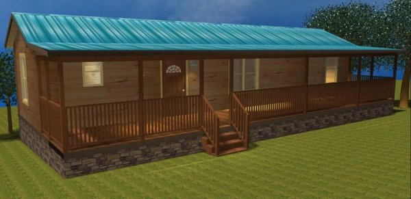 50 39 X 12 39 Modular Log Cabin With Front Living Room Id 86