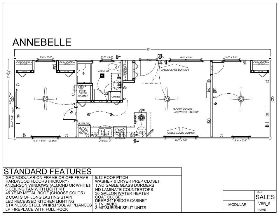 50 39 X 16 39 Annebelle Modular Log Home Mountain