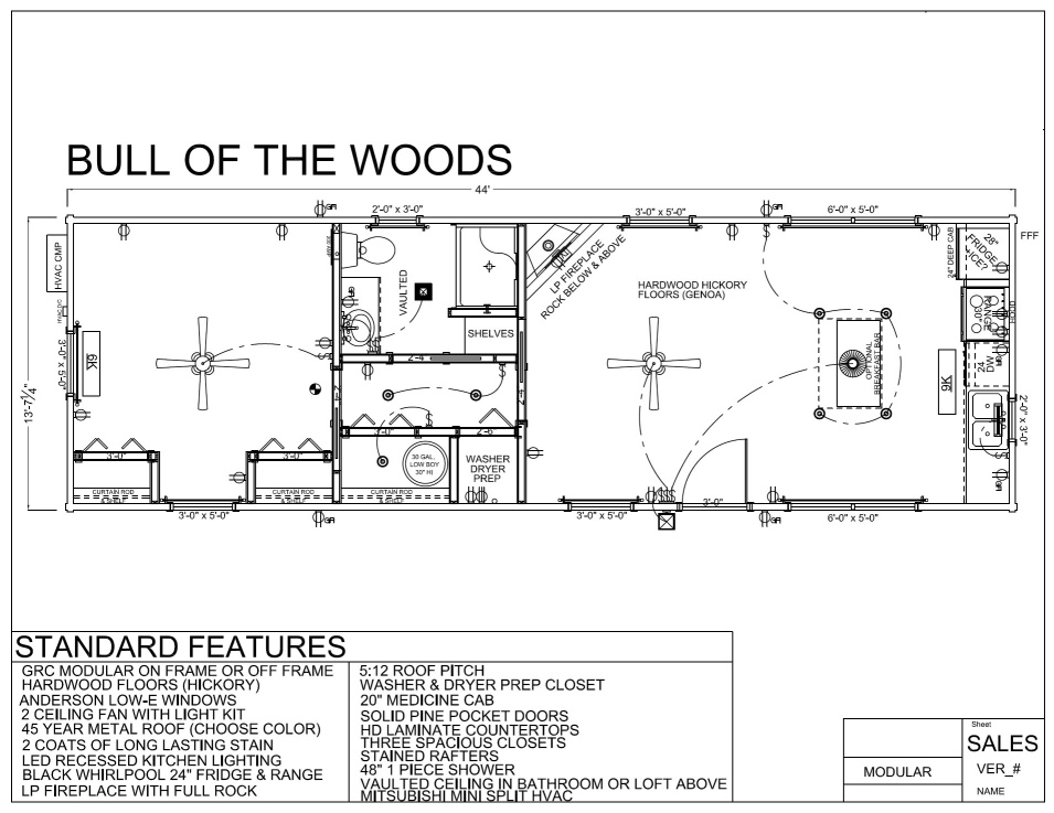 44' x 14' BULL OF THE WOODS - Modular Log Cabin