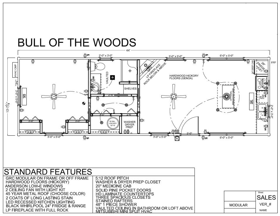 44' x 14' BULL OF THE WOODS - Modular Log Cabin