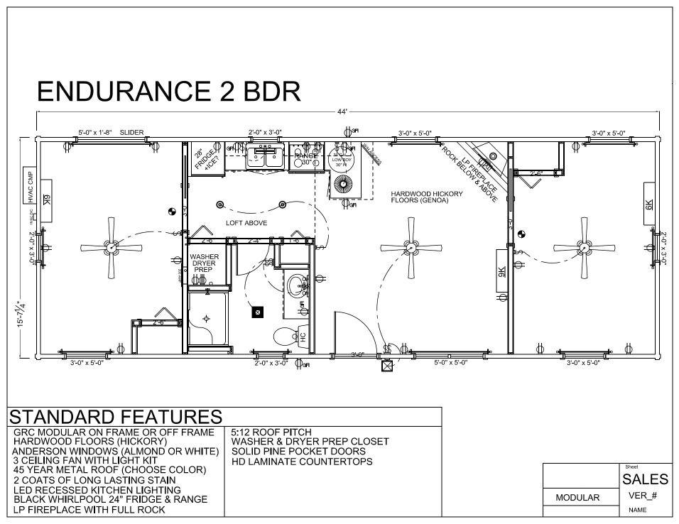 44' x 16' ENDURANCE 2 BDR FLOORPLAN - Modular Log Home