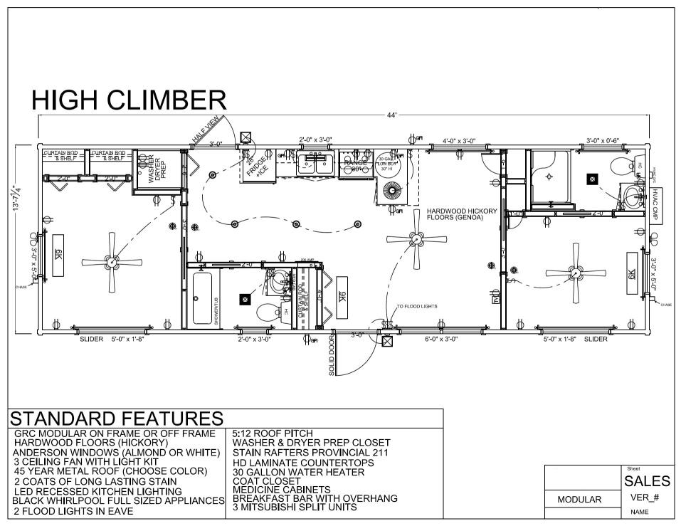 44 39 x 14 39 high climber modular log cabin mountain for Modular log homes floor plans