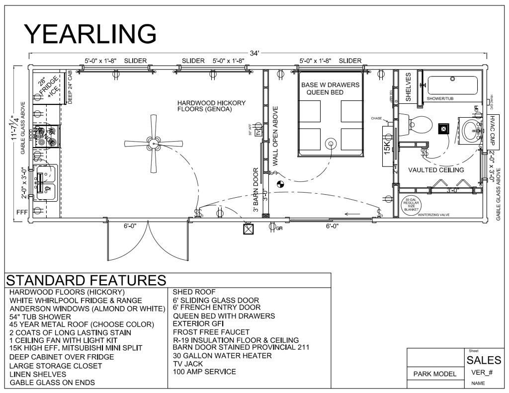 34 39 x 12 39 yearling park model log cabin mountain for Log lodges floor plans